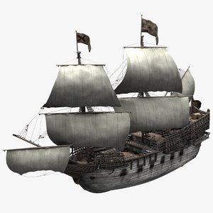 3D model galleons sailing ships