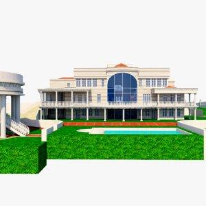 luxurious mansion v2 3D model