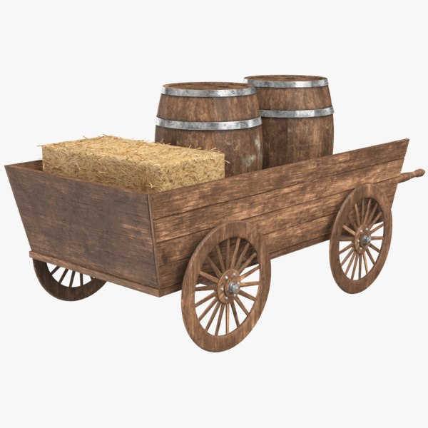 3D real wooden cart barrel
