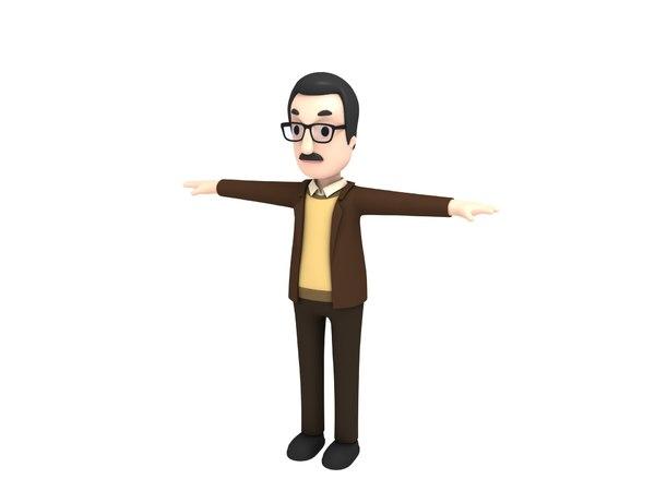 3D professor character cartoon model