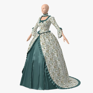 vintage dress green 3D model