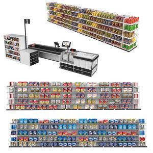 3D supermarket shelves detergent model