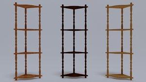 3D wooden corner shelf