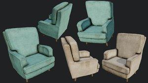 3D old linen armchair pbr