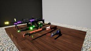 light guns pack 3D model