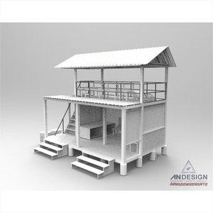 3D autumn shelter wooden