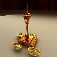 3D chinese gold ingot needle model