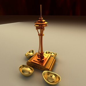 3D chinese gold ingot needle model