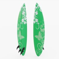 3D surfboard green