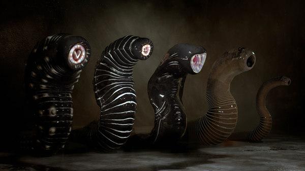 3D model giant leeches