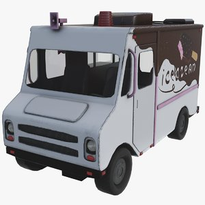 3D ice cream chocolate truck model