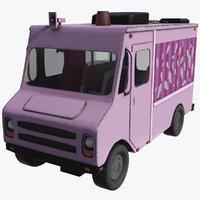 3D model ice cream truck pink