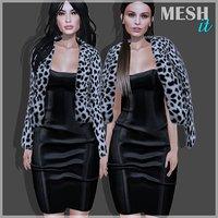 coat fur dress 3D model