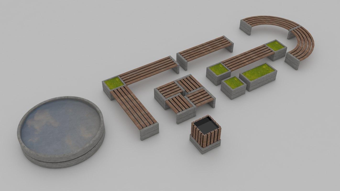 bank city furniture 3D