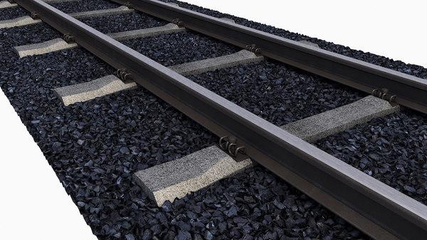 3D rails sleepers gravel
