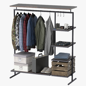 3D model clothes rack wood