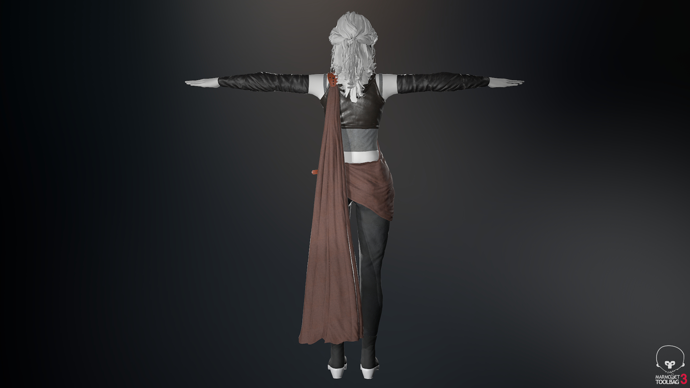 3D model post apocalyptic female clothing