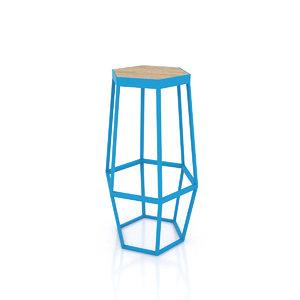 3D stool hexagonal
