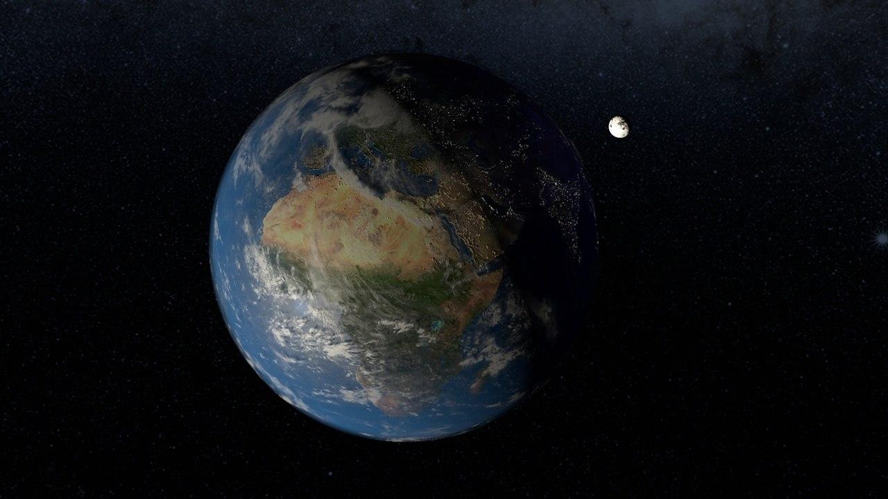 3D planet earth moon model