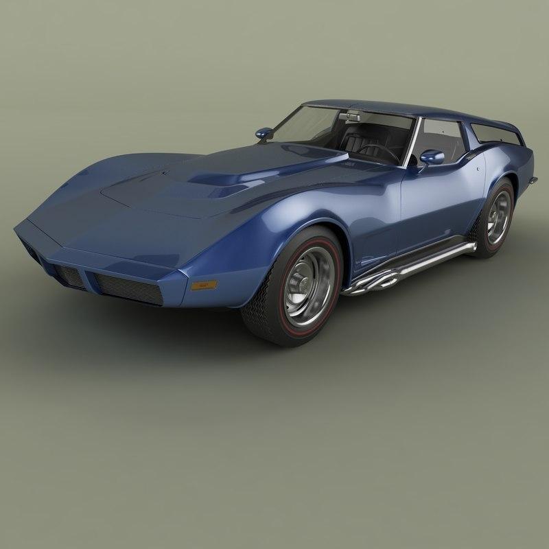 3D 1973 chevrolet corvette sports