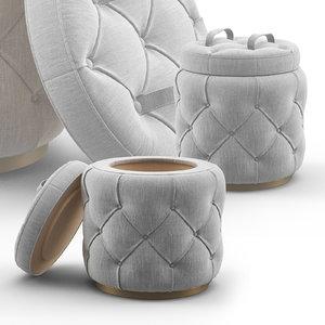 bespoke ottoman sb-alle-ott-01009 stool 3D model