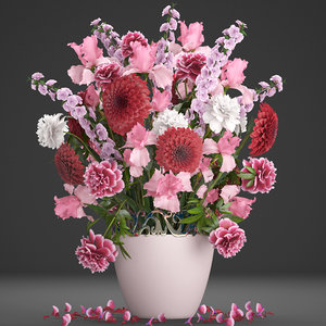 3D bouquet red flowers