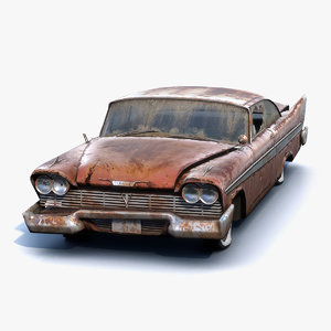 3D low-poly rusty muscle car