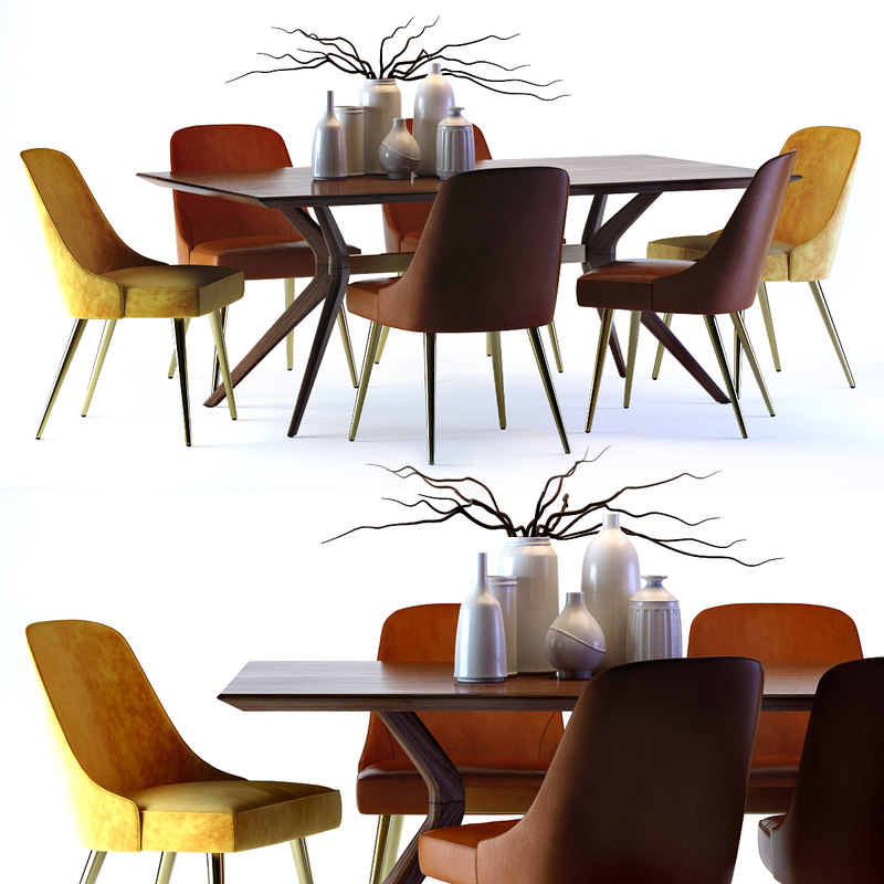3D model wright table mid-century leather chair