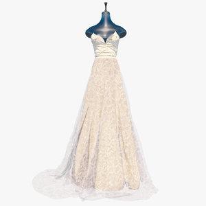 realistic wedding dress vi 3D