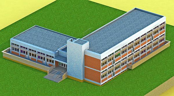 3D kindergarten walls rendering