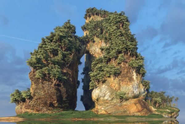 island forest rocks 3D model