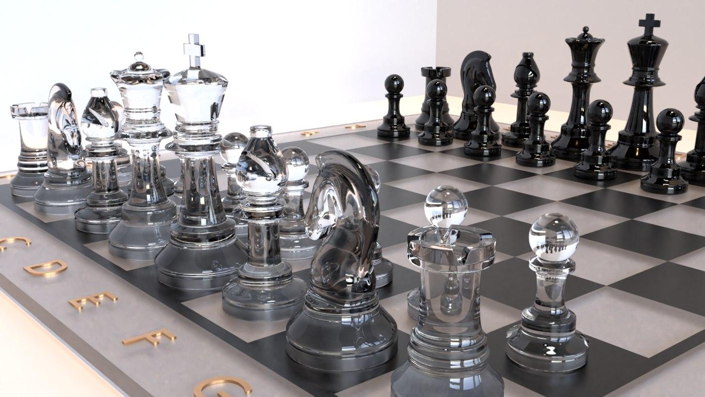 3D glass chess set