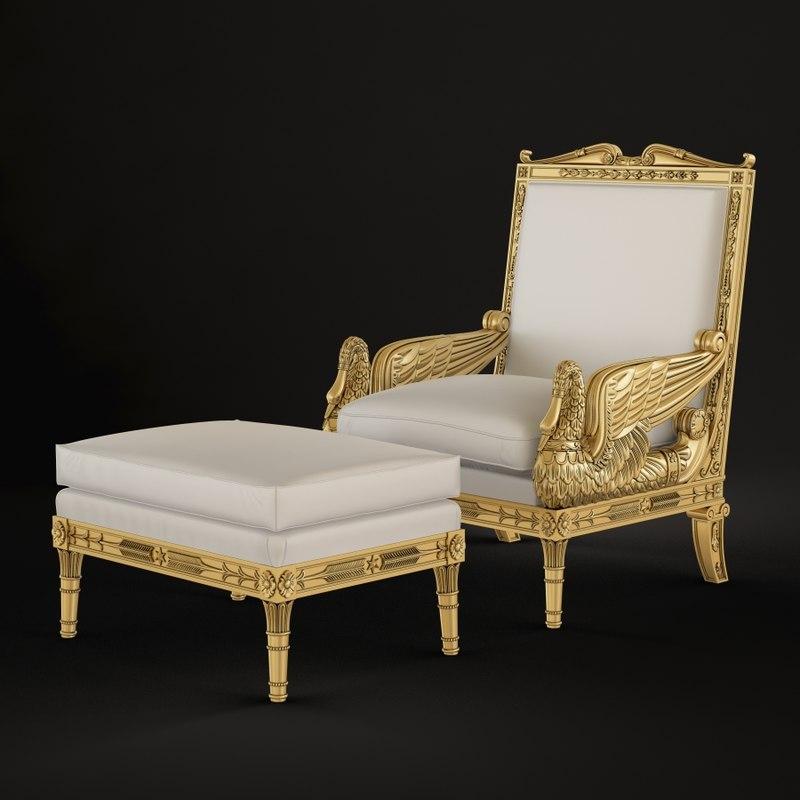 3D swan chair model