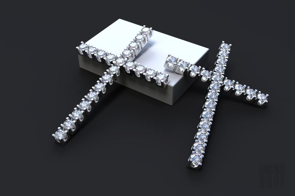 jewelry cross stones 3D model