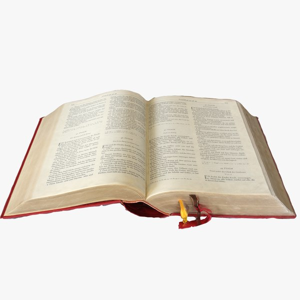 3D old bible opened