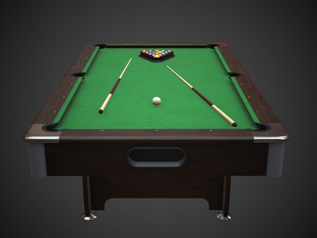 3D model american pool table cues