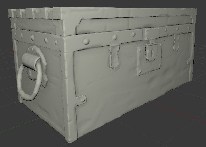3D chest old wood