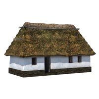 3D house straw roof