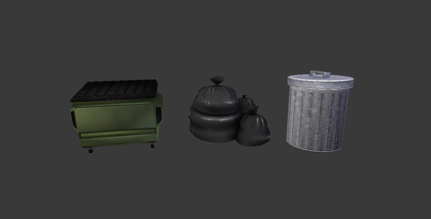 set garbage dumpster 3D