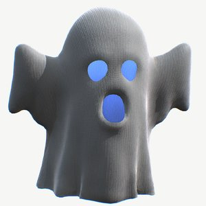 3D little cartoon ghost model
