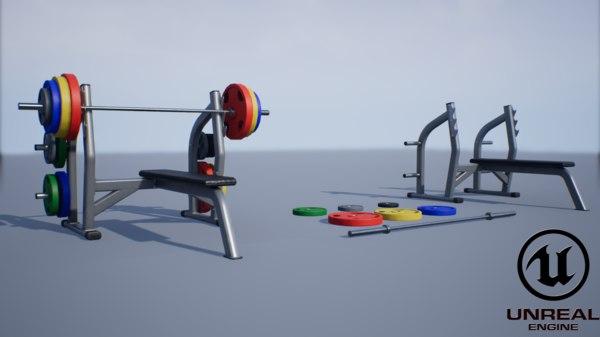 3D pbr flat press bench