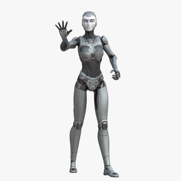3D sci-fi female robot