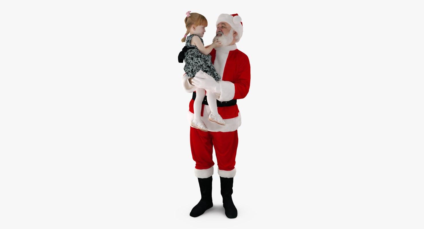 santa child people human 3d model