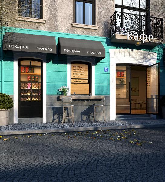 3D model coffee shop bakery