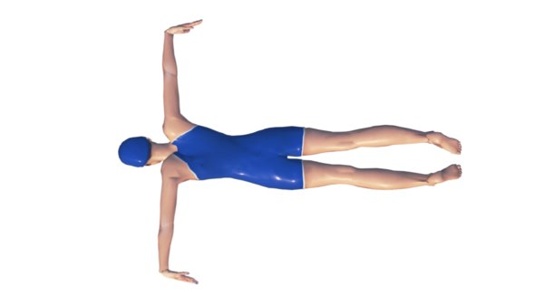 swimming female butterfly style 3D