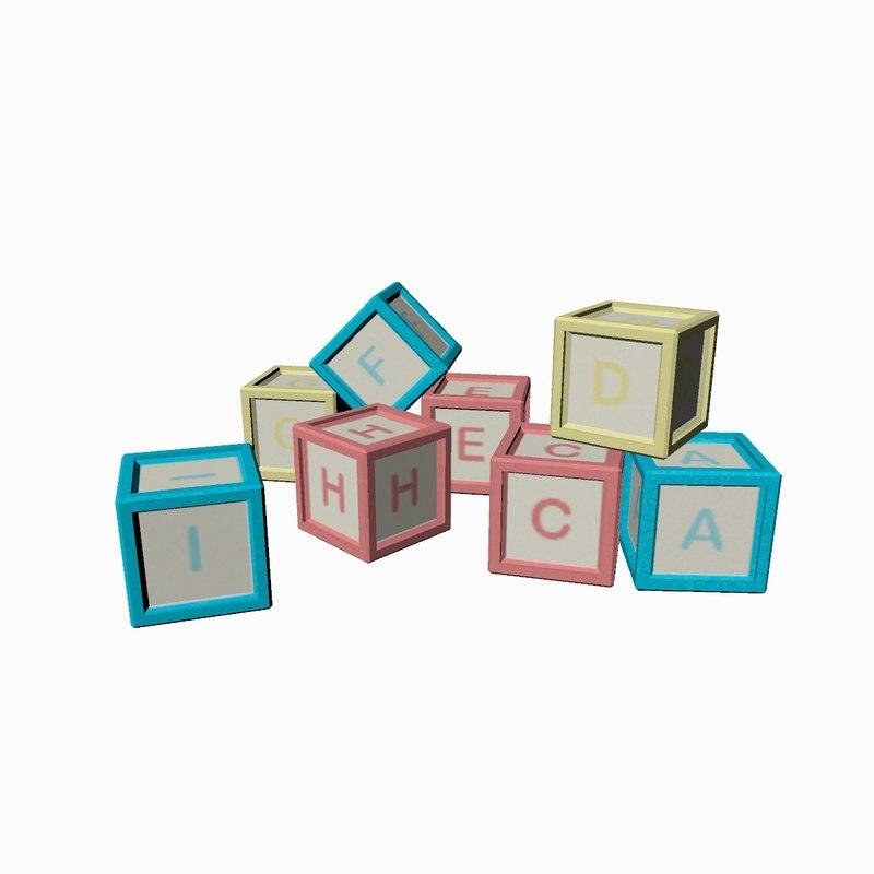 children s alphabet blocks 3D
