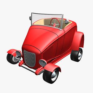 3D hot rod car