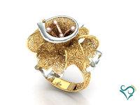 golden flower ring print 3D model