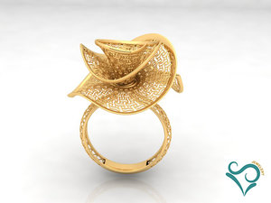 3D gold ring engagement print model