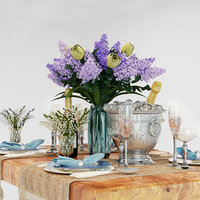 3D table set lilac model